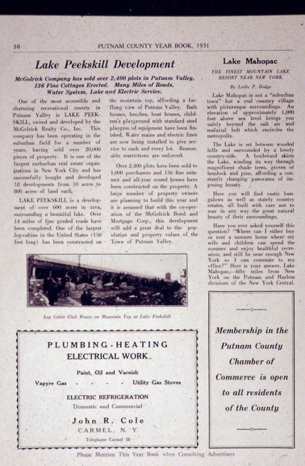 Historic Lake Peekskill | Putnam Valley Historical Society